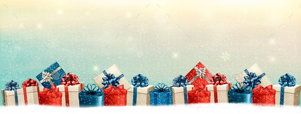 GraphicRiver Holiday Christmas Background with a Border of Gift 9626595