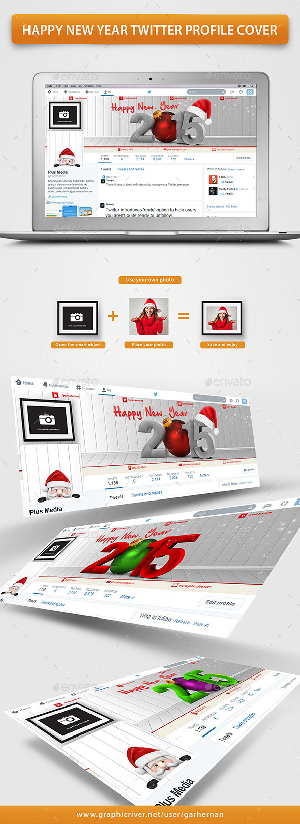 GraphicRiver Happy New Year Twitter Profile Cover 9638992