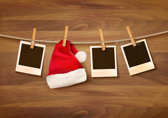 GraphicRiver Background with Photos and a Santa Hat 9626512