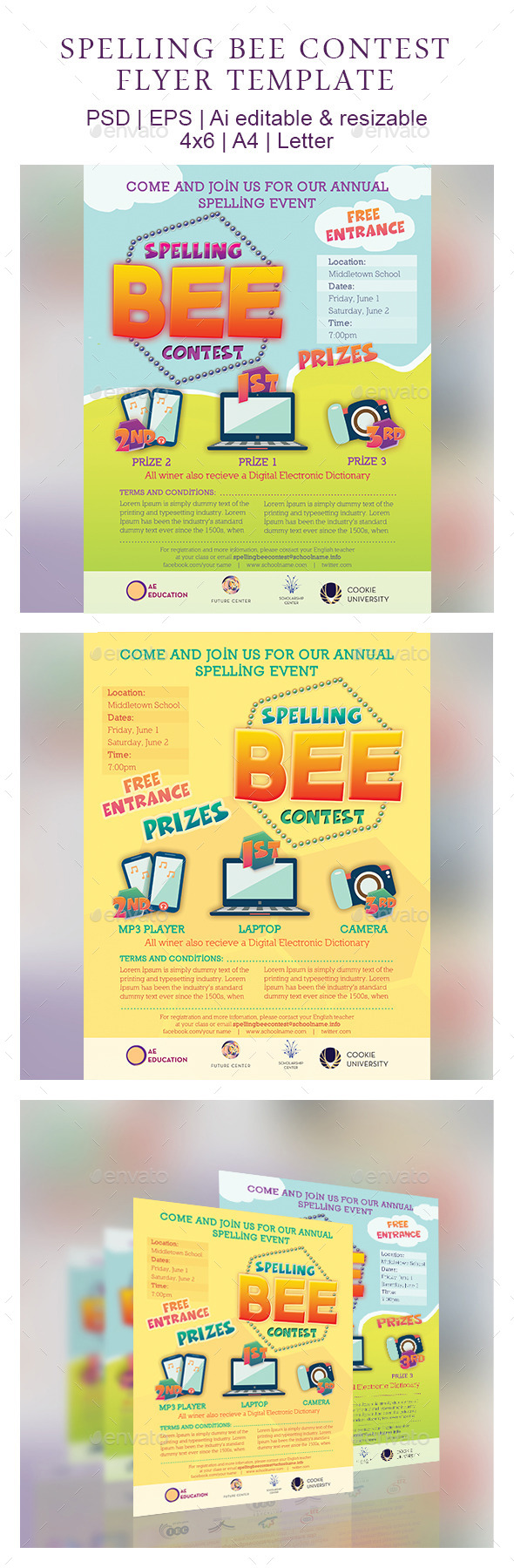 GraphicRiver Spelling Bee Contest Flyer Template 9254655