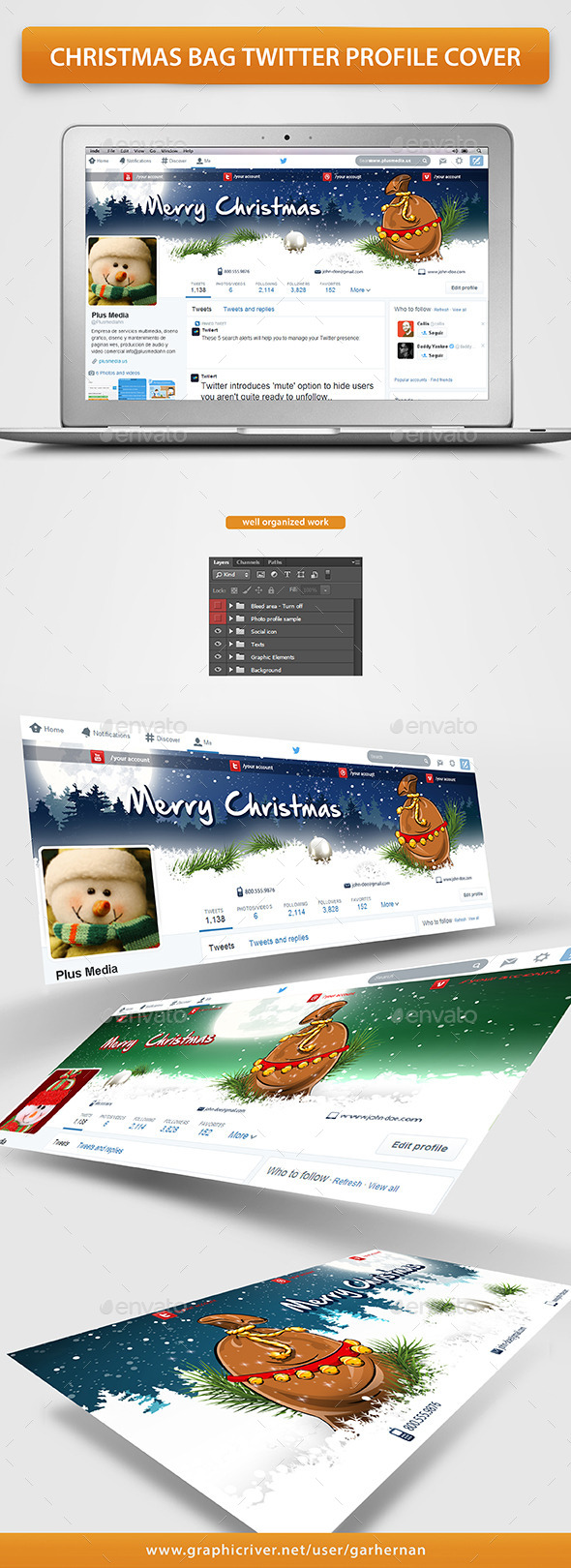 GraphicRiver Christmas Bag Twitter Profile Cover 9639572