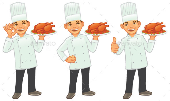 GraphicRiver Chef with Roasted Chicken 9639623