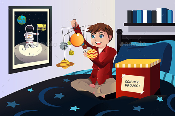 GraphicRiver Boy making a Solar System Science Project 9639624