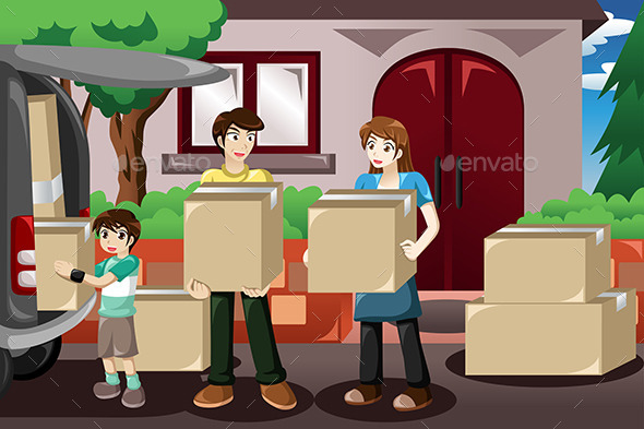 GraphicRiver Family Moving House 9639639