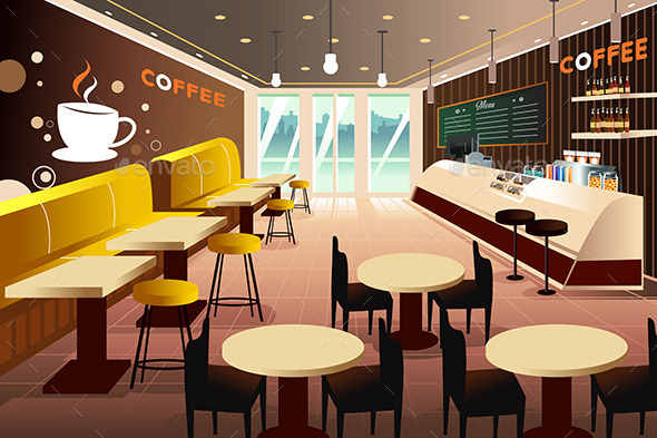 GraphicRiver Interior of a Modern Coffee Shop 9639648