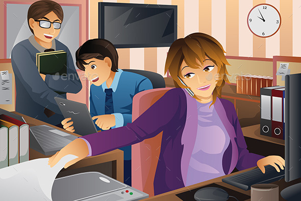 GraphicRiver Business People Working at the Office 9639675