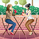 Girls Hanging out Together - GraphicRiver Item for Sale