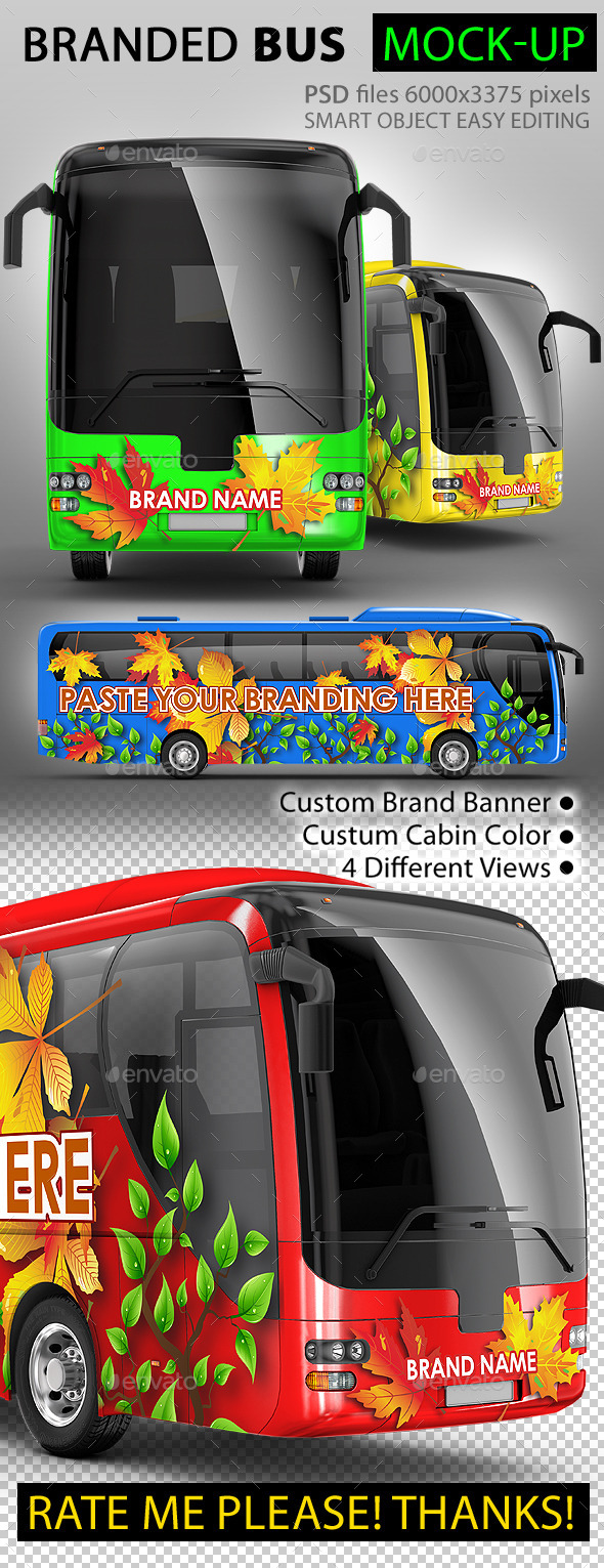 GraphicRiver Bus tourist bus large Bus mock-up 9639722