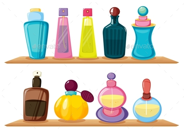GraphicRiver Wooden Shelves with Different Perfumes 9639733