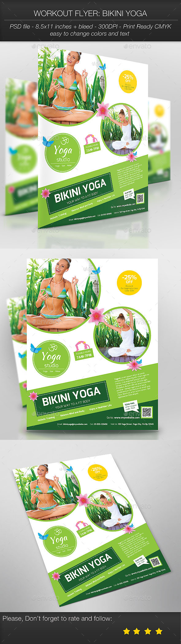 GraphicRiver Workout Flyer Bikini Yoga 9639749