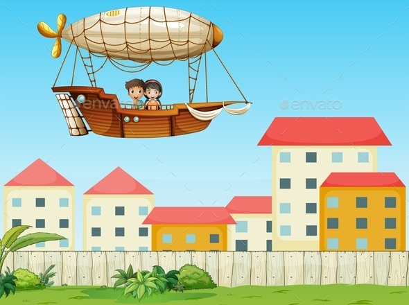 GraphicRiver Two Kids Riding in an Aircraft Above the Village 9639754