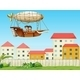 Two Kids Riding in an Aircraft Above the Village - GraphicRiver Item for Sale
