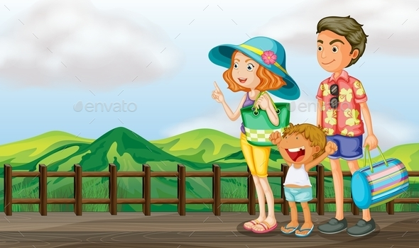 GraphicRiver Family on a Wooden Bridge 9639762
