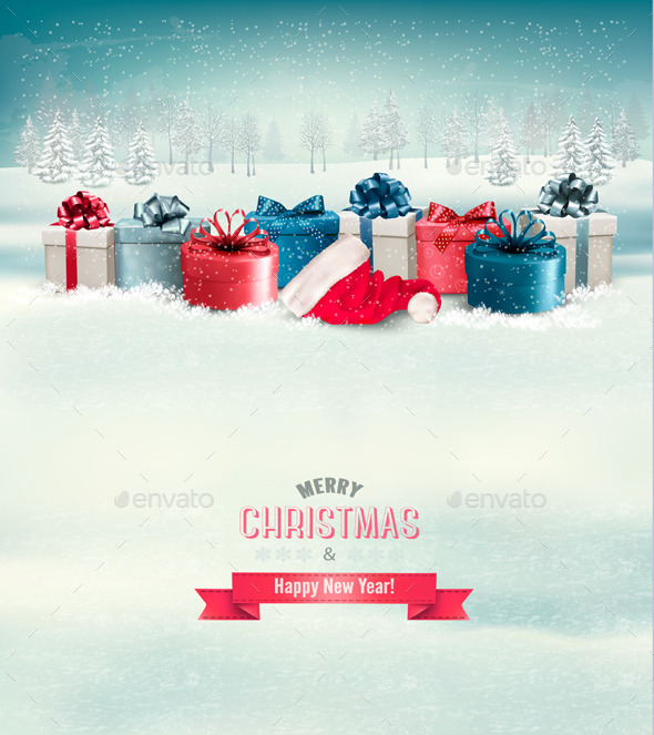 GraphicRiver Holiday Christmas Background with Gift Boxes 9639864