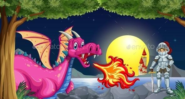 GraphicRiver Dragon and Knight 9640097
