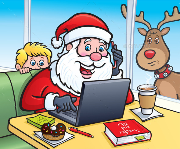 GraphicRiver Santa At A Coffee Shop On A Laptop 9640098