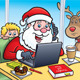 Santa At A Coffee Shop On A Laptop - GraphicRiver Item for Sale