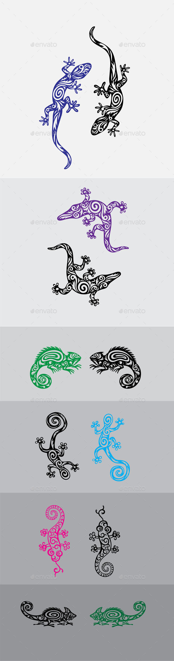 GraphicRiver Lizard Ornament Set 9640234
