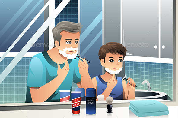 GraphicRiver Father and Son Shaving 9640804