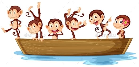 GraphicRiver Monkeys and Boat 9641034