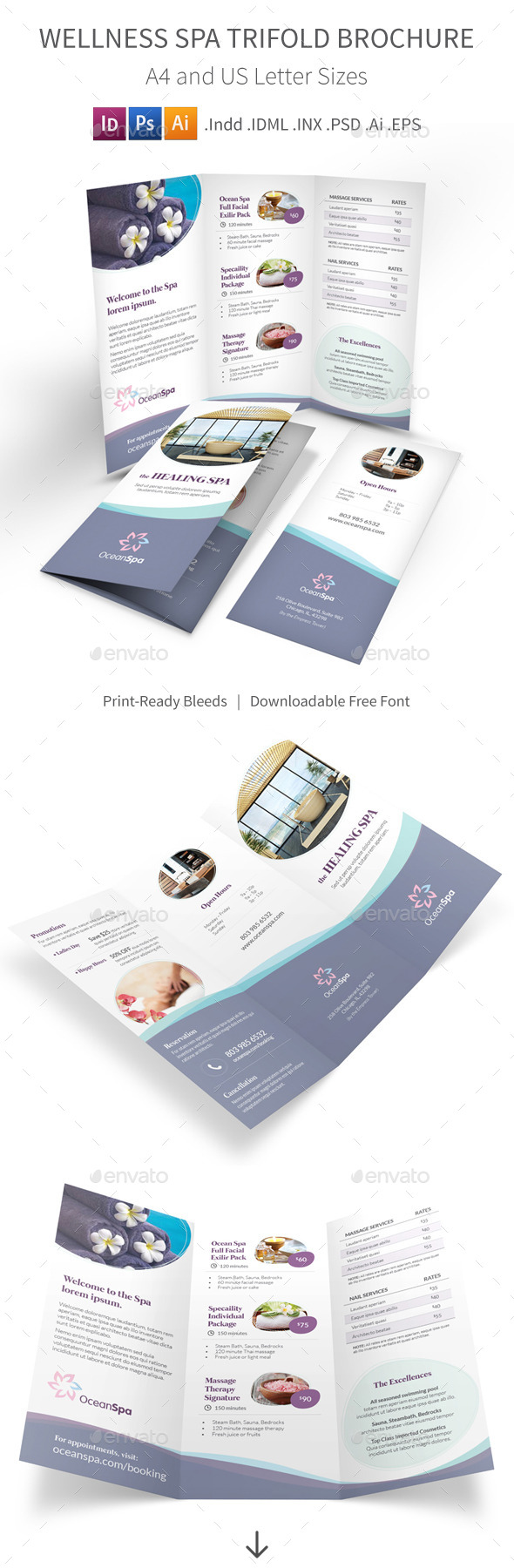 GraphicRiver Wellness Spa Trifold Brochure 9641063