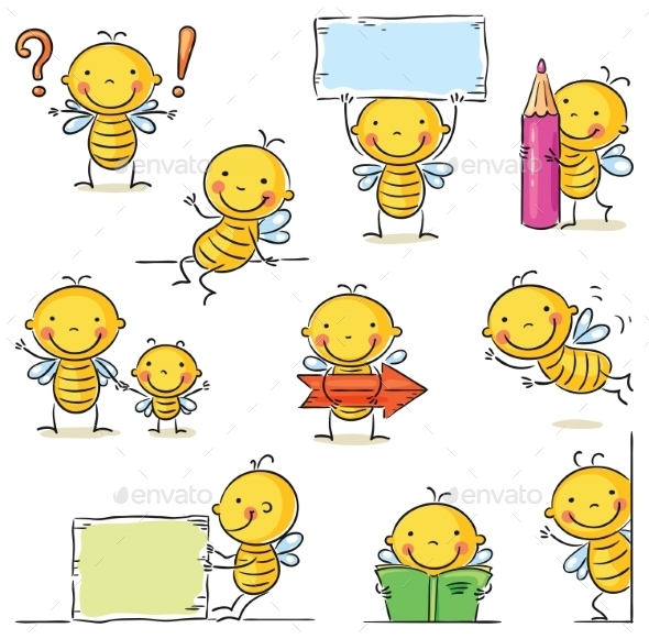 GraphicRiver Bee Cartoon Character 9641131
