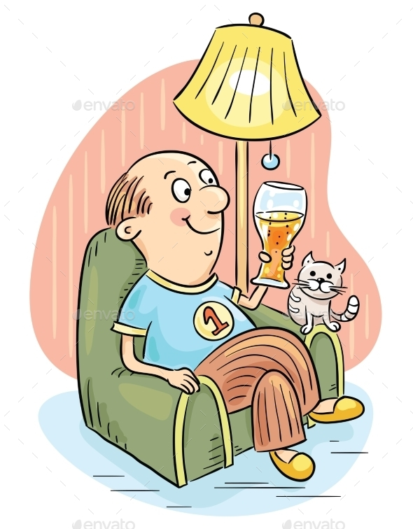 GraphicRiver Man Drinking Beer in an Arm-Chair 9641136