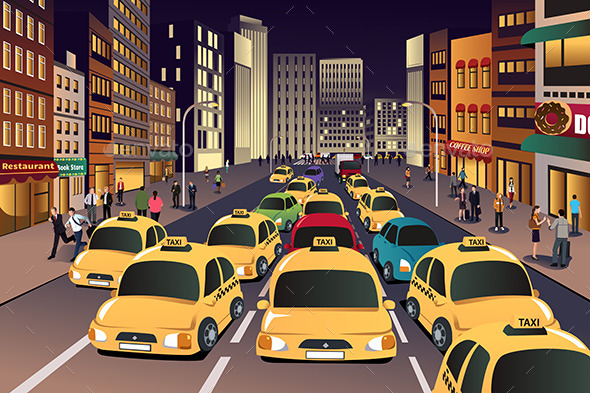 GraphicRiver Busy City in the Evening 9641150