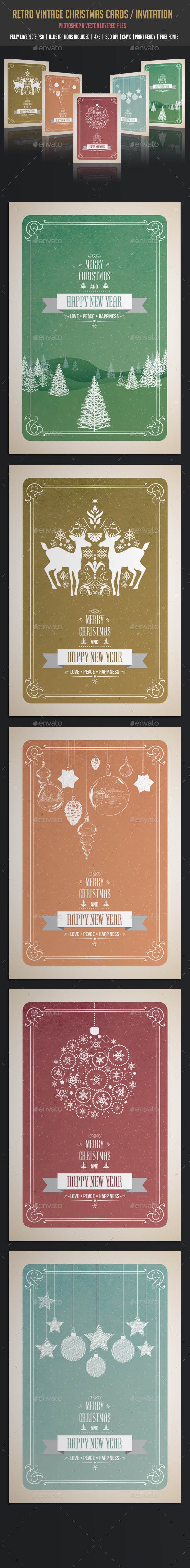 GraphicRiver Vintage & Retro Christmas Cards Invitation 9641195