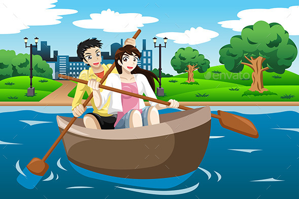 GraphicRiver Happy Couple Rowing a Boat 9641228