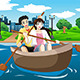 Happy Couple Rowing a Boat - GraphicRiver Item for Sale