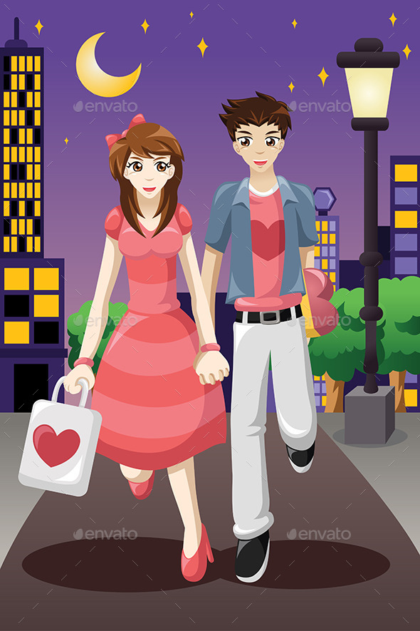 GraphicRiver Couple Going Out on a Valentine s Day 9641236