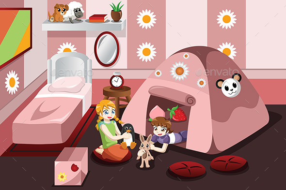 GraphicRiver Kid Playing in a Tent Inside the Bedroom 9641240