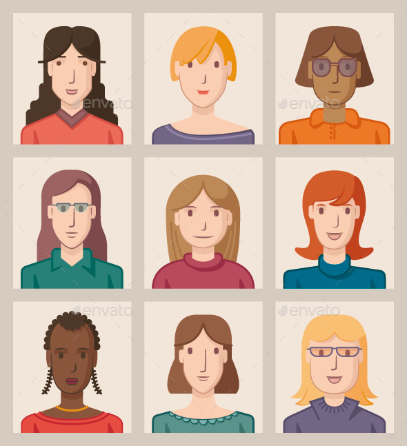 GraphicRiver Nine Female Avatars 9641736