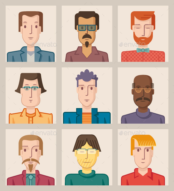 GraphicRiver Nine Male Avatars Flat 9641831