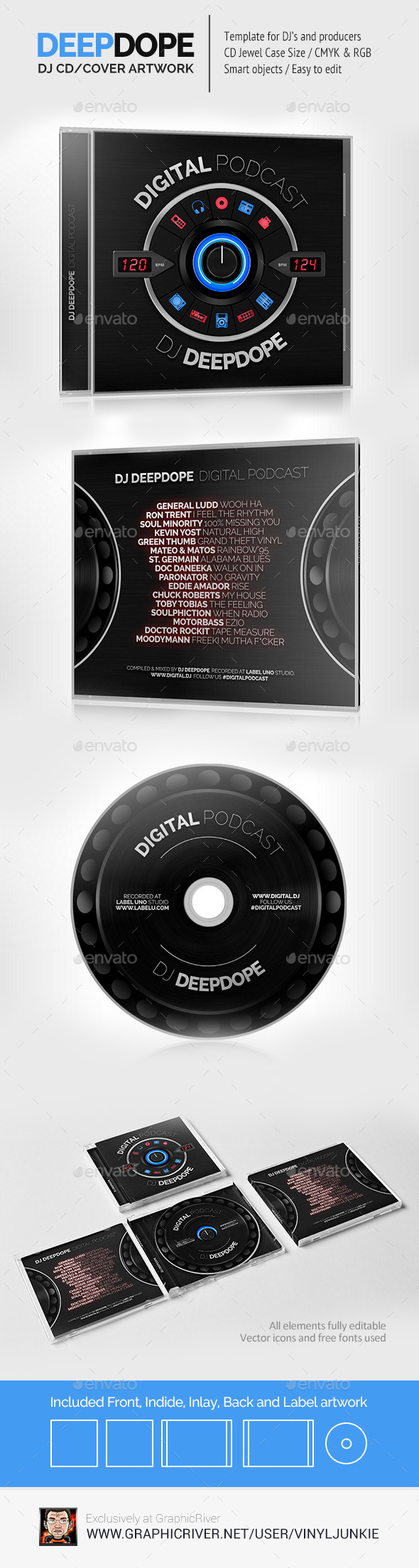 DeepDope DJ Mix CD Cover Artwork PSD