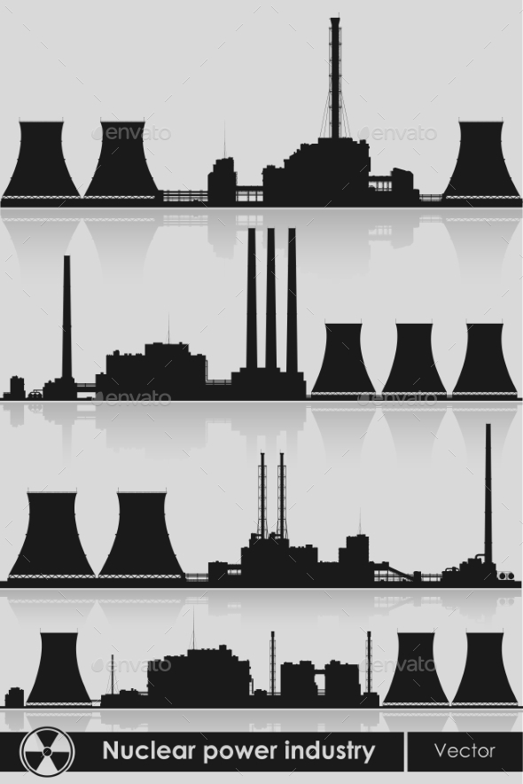 GraphicRiver Nuclear Power Plants Silhouette 9642085