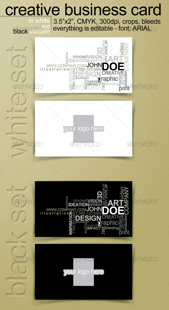 Creative Business Card in 2 versions - Editable -  - Creative Business Cards