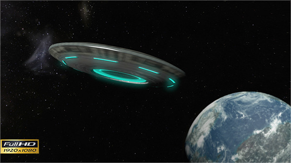 VideoHive Alien`s Spaceship Approaching to Planet 9642086