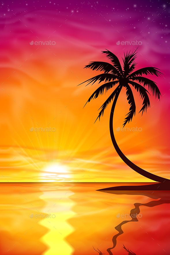 GraphicRiver Sunset Sunrise with Palm Tree 9642237