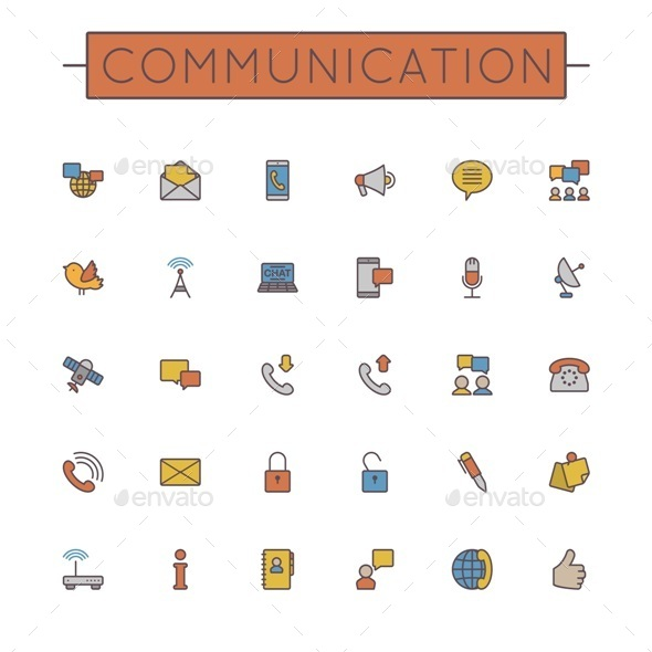 GraphicRiver Colored Communication Line Icons 9642301