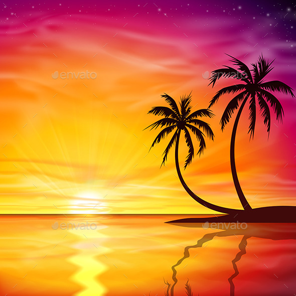 GraphicRiver Sunset Sunrise with Palm Trees 9642364
