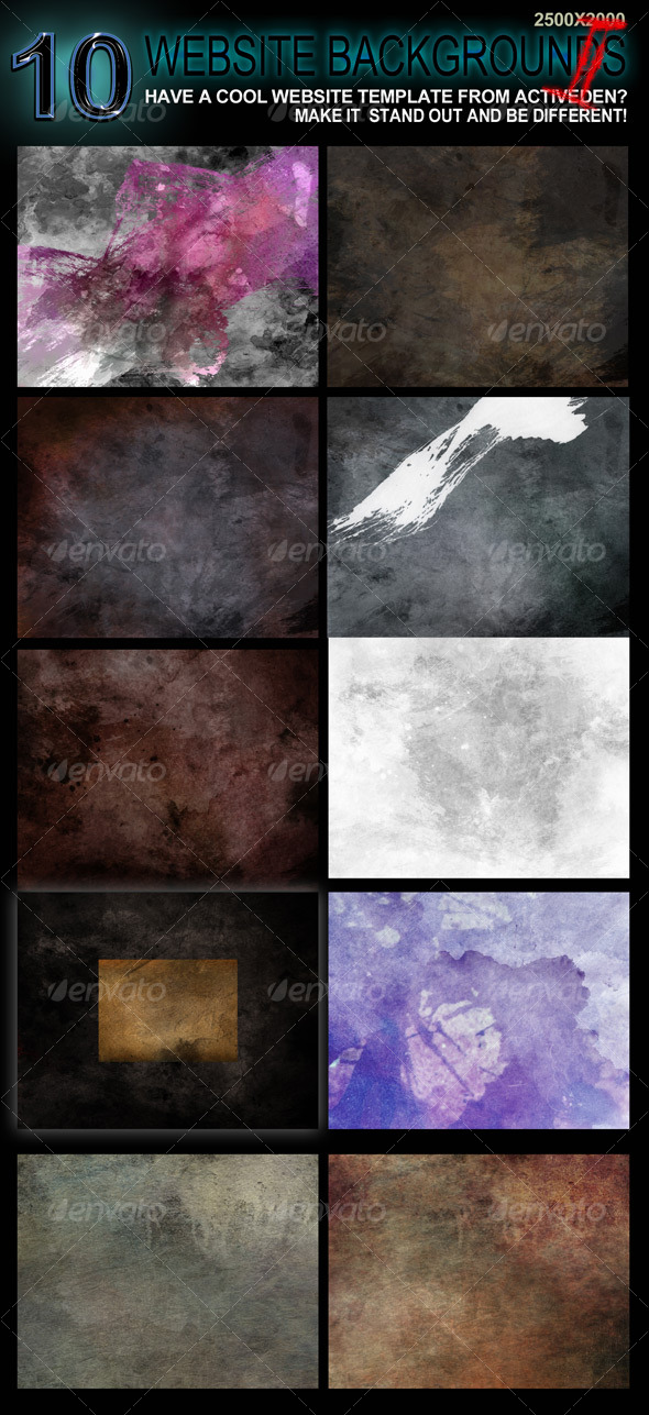 10 Original Website Backgrounds - 2500x2000 - II  - Backgrounds Graphics