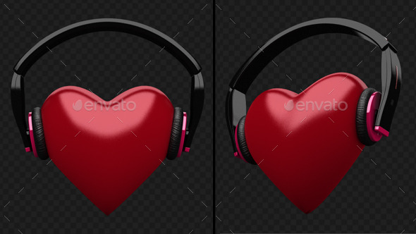 GraphicRiver Beating Heart With DJ Headphones 9610301