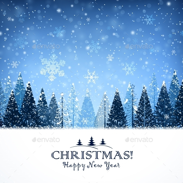GraphicRiver Christmas Background with Trees 9643281
