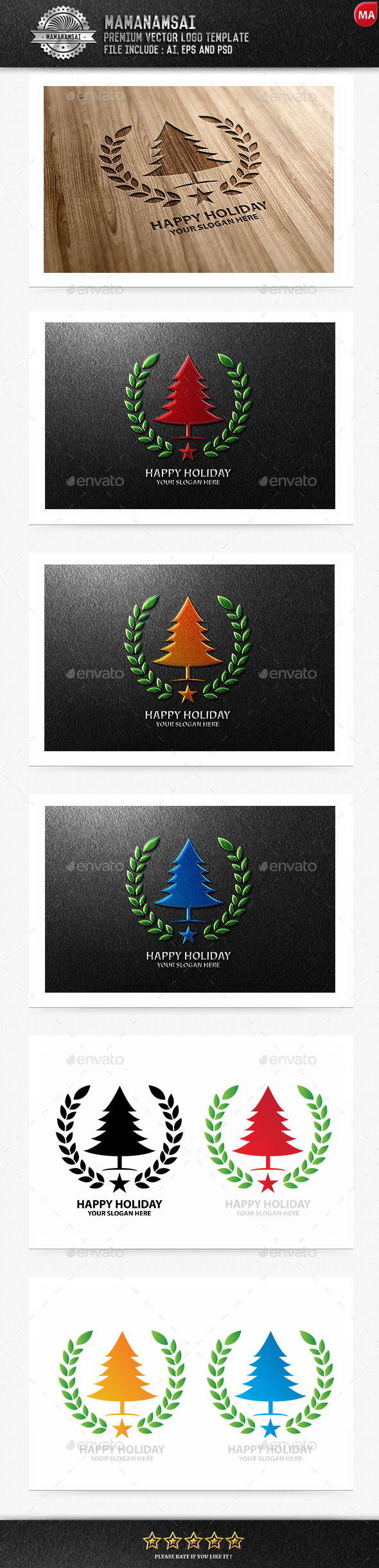 GraphicRiver Happy Holiday Logo 9643459
