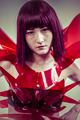 Modern future, Japanese manga-style women dressed in red glass a - PhotoDune Item for Sale