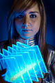 Technology.Fiber Optic concept, woman with modern lights - PhotoDune Item for Sale