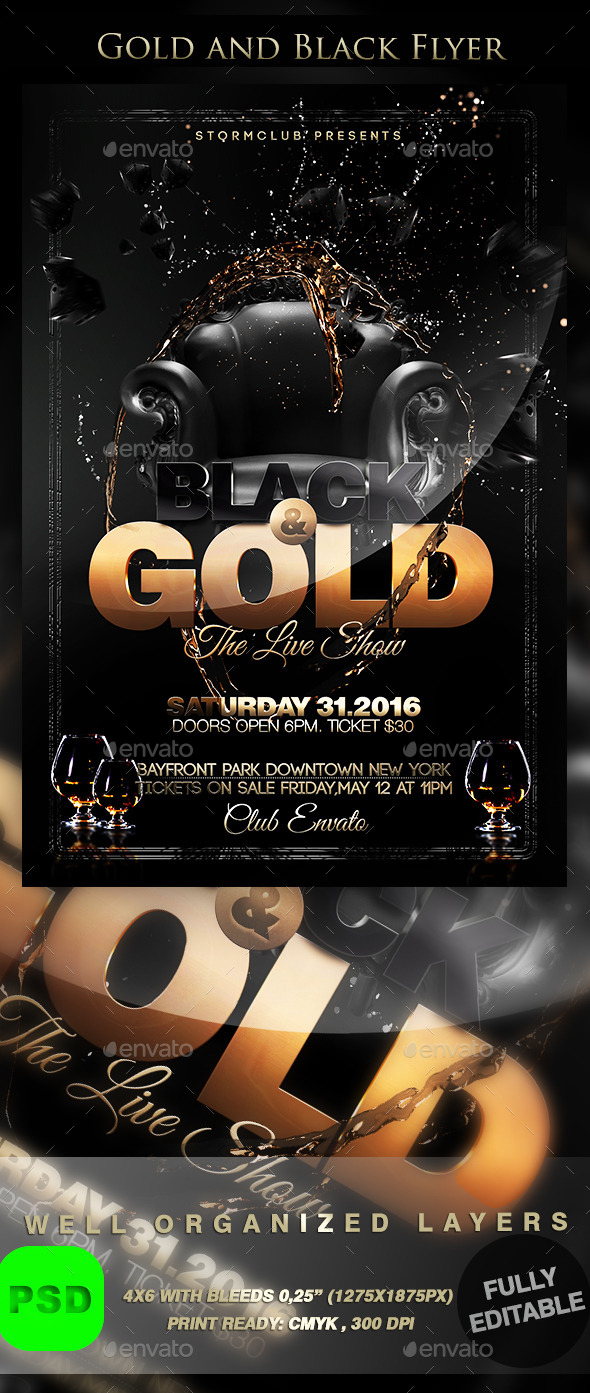 GraphicRiver Gold and Black Flyer 9643844