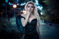 romantic scene, beautiful blond, fallen angel with black dress - PhotoDune Item for Sale